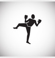 kick boxing on white background vector image