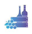 line wine bottles inside wood box and grape fruit vector image vector image