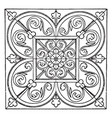 medieval square panel filled with long leaves vector image vector image