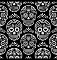 mexican sugar skull seamless pattern on bla vector image vector image