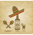 Mexico icons grunge background vector image vector image