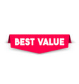 modern red best value label vector image vector image