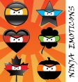 ninja emoticons vector image vector image
