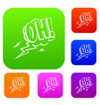 oh speech bubble set color collection vector image vector image
