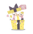 people jumping out gift box at birthday party vector image vector image