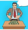 pop art businessman wants to seize money vector image vector image