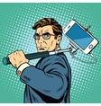 Selfie man blogger smartphone vector image vector image