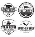 set butcher shop and butchery hand written vector image