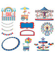set circus items on white background vector image vector image
