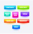 set colorful gradient rectangular buttons vector image