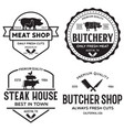 set of butcher shop and butchery hand written vector image