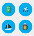 set of simple vacation icons vector image vector image
