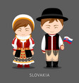 slovaks in national dress with a flag vector image vector image