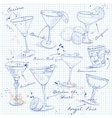 The Unforgettables Cocktail Set on a notebook page vector image vector image