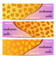 Three autumn sale banners with yellow leaves