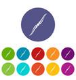 throwing ninja knife icons set flat vector image vector image