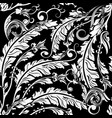 vintage leafy black and white baroque seamless vector image vector image