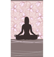 Yoga Card with Meditating Woman vector image vector image