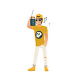 young man with boombox on shoulder listening to vector image vector image