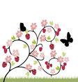 raspberries flowers and butterflies vector image