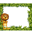 A lion at the left side of a leafy frame vector image vector image