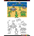 aliens group coloring book vector image vector image