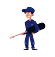 auto mechanic holding a giant screwdriver vector image vector image