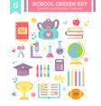 back to school design set cartoon items vector image vector image