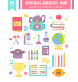 back to school design set of cartoon items vector image vector image