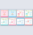 bashower girl boy card set banners vector image