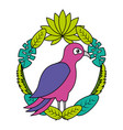 bird leaves tropical on white background vector image vector image