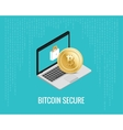 bitcoin secure with laptop and lock vector image vector image
