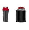 black sport bottle shaker portein container pack vector image vector image