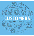 blue line flat circle customers vector image
