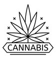 cannabis drug leaf logo outline style vector image vector image