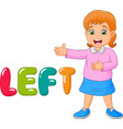 cartoon little girl pointing to his left with the vector image