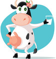 Cartoon mascot cow holding a glass of milk vector image