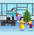 cartoon of happy family decorating a christmas tre vector image vector image