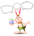 Cartoon Thinking Easter Bunny vector image vector image