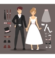 cartoon wedding couple and icons vector image vector image