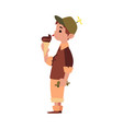 child holding and eating chocolate ice cream cone vector image vector image
