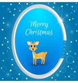 Christmas round tag with a small deer on a blue vector image vector image