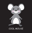 cool mouse isolated on black vector image vector image