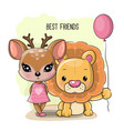 cute cartoon deer and lion on a white background vector image vector image