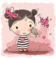 cute cartoon girl with bird vector image vector image