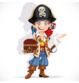 cute pirate boy with red parrot hold treasure vector image vector image