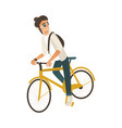 cycling young man with dark hair isolated on white vector image vector image