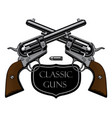 emblem with two old crossed revolvers vector image