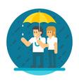 flat design couple in rain vector image