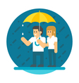 Flat design couple in the rain vector image vector image
